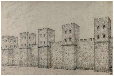 Dibuix de la muralla tardoromana de Barcino. Dibuix de Marià Ribas de 1943