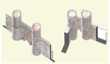 Restitució de la porta decumana oriental o Porta de Mar de la muralla al segle I d. de C