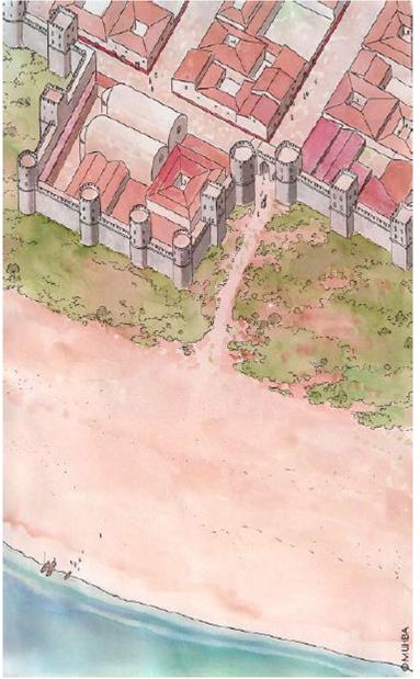 Vista aèria de Barcino al segle IV d. de C., amb la nova muralla, la Porta de Mar i el castellum