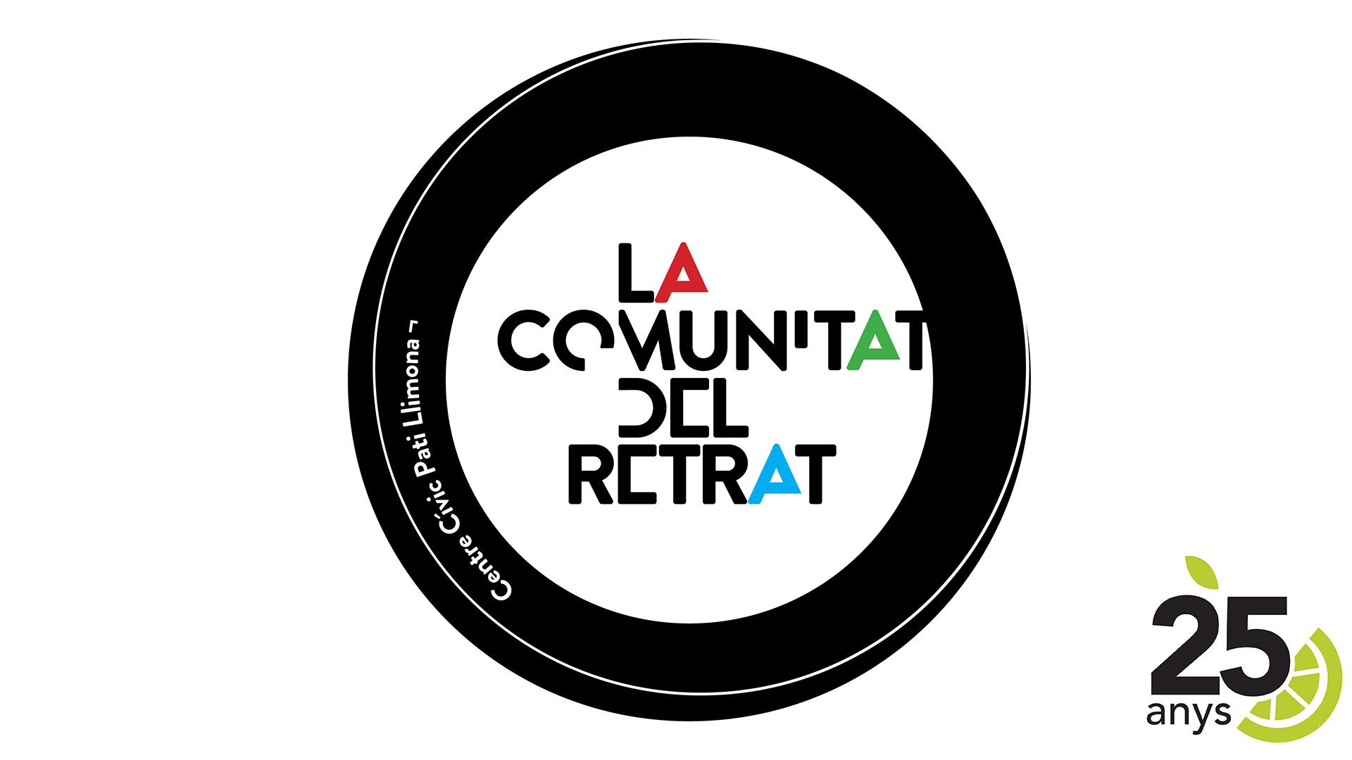 Logotip de la Comunitat del Retrat del Centre Cívic Pati Llimona, en commeració el 25è aniversari